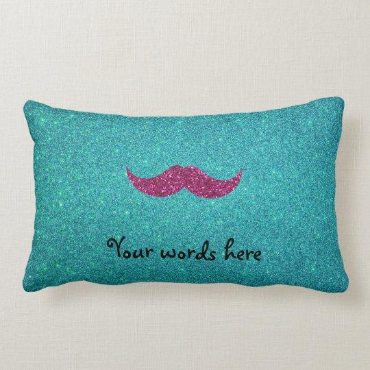 Pink glitter moustache lumbar pillow