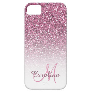 Pink Glitter, Name and Monogram, Girly iPhone 5 Case
