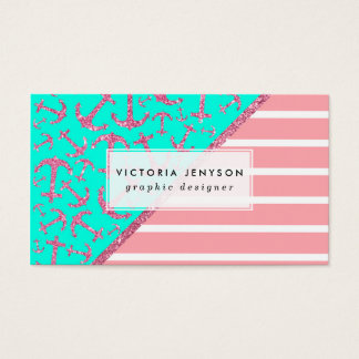 Pink Glitter Nautical Anchors Turquoise Stripes Business Card