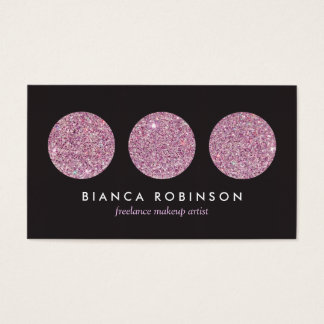 Pink Glitter Palette for Freelance Makeup Artist Business Card