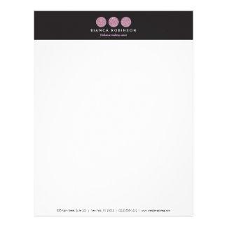 Pink Glitter Palette for Freelance Makeup Artist Letterhead