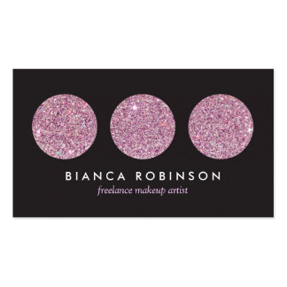 Pink Glitter Palette for Freelance Makeup Artist Pack Of Standard Business Cards