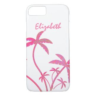 Pink Glitter Palm Trees iPhone 8/7 Case