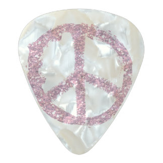 Pink Glitter Peace Pearl Celluloid Guitar Pick