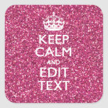 Pink Glitter Personalized KEEP CALM AND Your Text