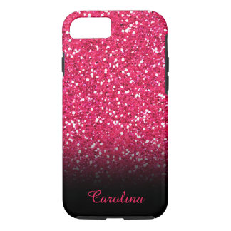 Pink Glitter, Personalized with Name iPhone 7 Case