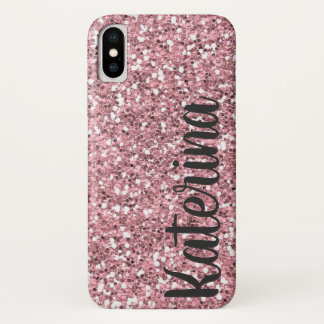 Pink Glitter Personalized with Your Name. iPhone X Case
