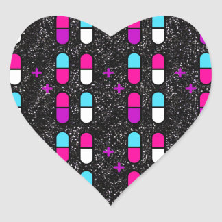 pink glitter pills heart sticker