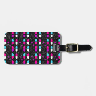pink glitter pills luggage tag