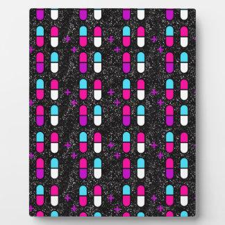pink glitter pills plaque