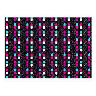 pink glitter pills postcard