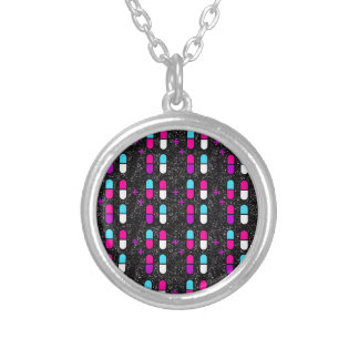 pink glitter pills silver plated necklace