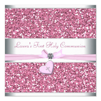 "Pink Glitter Pink Cross First Communion 5.25"" Square Invitation Card"