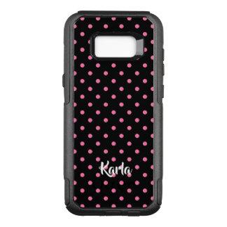 Pink glitter polkadots pattern on black background OtterBox commuter samsung galaxy s8+ case