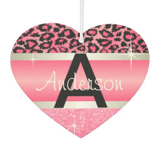 Pink Glitter Print & Leopard Animal | Personalize Air Freshener