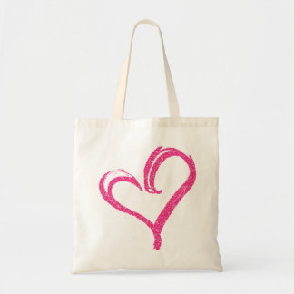 Pink Glitter PRINT Modern Wedding Love Heart Tote