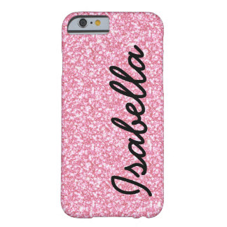 PINK GLITTER PRINTED PERSONALIZED BARELY THERE iPhone 6 CASE