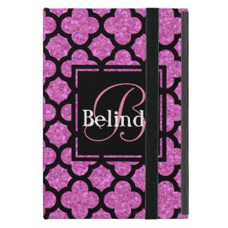 Pink glitter quatrefoil pattern name and monogram iPad mini case