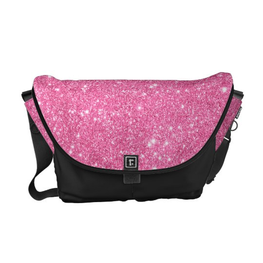 Pink Glitter Ready Set Go Messenger Bag