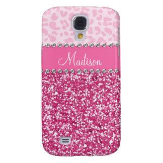 Pink Glitter Rhinestone Leopard BLING Case