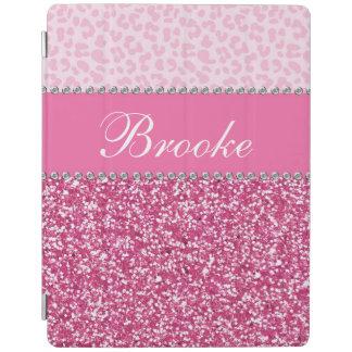 Pink Glitter Rhinestone Leopard BLING iPad Cover