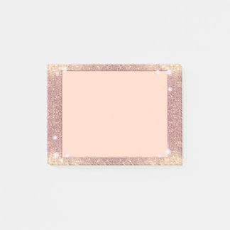 Pink Glitter Rose Gold Sparkle Faux Post-it Notes