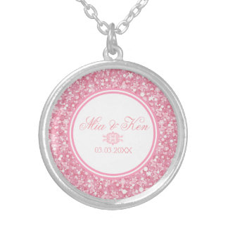 Pink Glitter - Save The Date Silver Plated Necklace