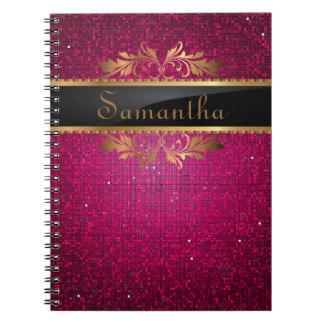 Pink Glitter Sequin Disco Glitz Spiral Notebook