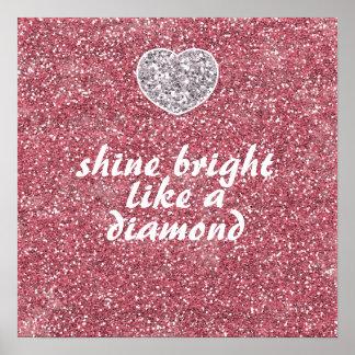 Pink Glitter Shine Bright Diamond Poster