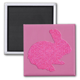 Pink Glitter Silhouette Easter Bunny Magnet