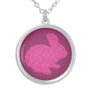 Pink Glitter Silhouette Easter Bunny Necklace