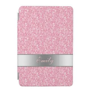 Pink Glitter Silver Gradient Accents Monogram iPad Mini Cover
