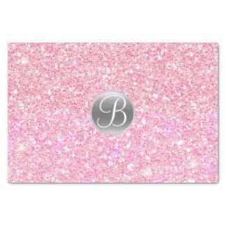 Pink Glitter Sparkle Glam Monogram Initial Tissue Paper