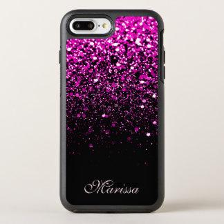 Pink Glitter Sparkles Black OtterBox Symmetry iPhone 8 Plus/7 Plus Case