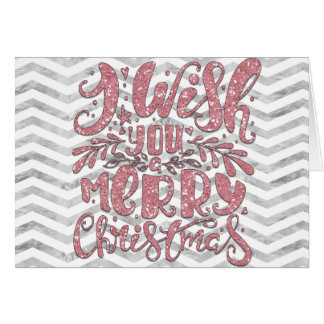 Pink Glitter Sparkly Christmas Card
