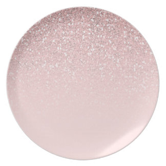 Pink Glitter Sparkly Glam Princess Girly Girls Plate