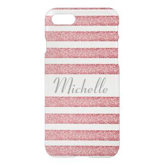 Pink Glitter Striped Clear iPhone case