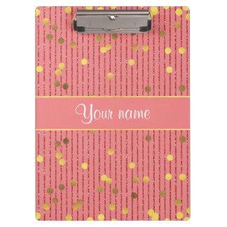 Pink Glitter Stripes Gold Confetti Clipboards