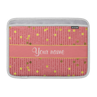 Pink Glitter Stripes Gold Confetti MacBook Sleeve