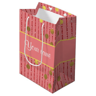 Pink Glitter Stripes Gold Confetti Medium Gift Bag