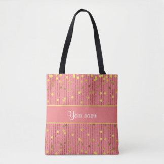 Pink Glitter Stripes Gold Confetti Tote Bag