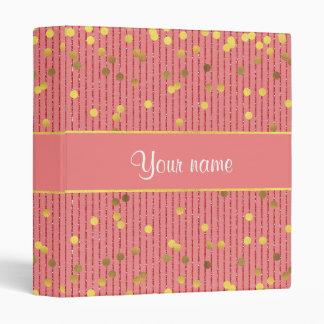 Pink Glitter Stripes Gold Confetti Vinyl Binders