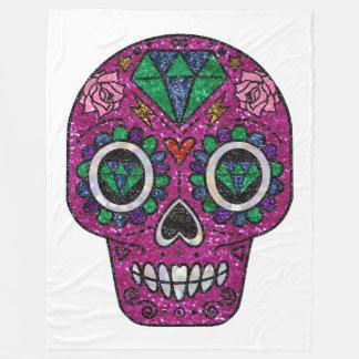 pink glitter sugar skull blanket
