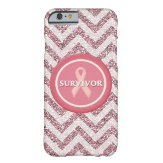 Pink Glitter Survivor Pink Ribbon iPhone 6 Case Barely There iPhone 6 Case