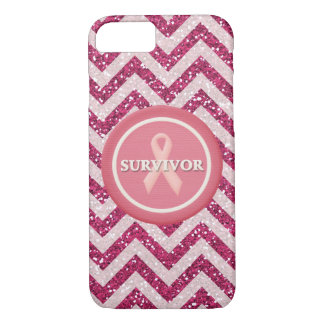Pink Glitter Survivor Pink Ribbon iPhone Case