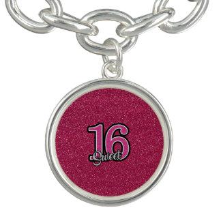 Pink Glitter SWEET16 Charm Bracelet