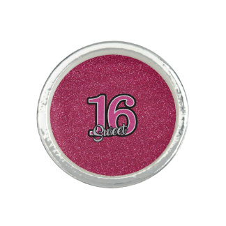 Pink Glitter SWEET16 Ring