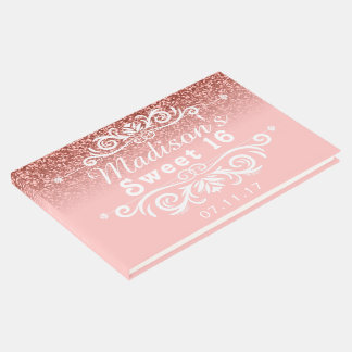 Pink Glitter Sweet 16 Custom Guest Book