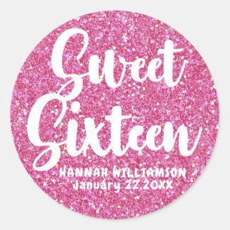 Pink Glitter Sweet Sixteen Personalized Sticker