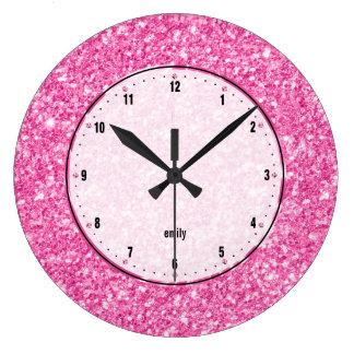 Pink Glitter Texture Print Large Clock
